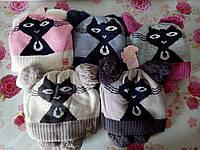 """Детская зимняя шапка на флисе  """"Кошка"""" на девочку. Разные цвета. Оптом., фото 1"""