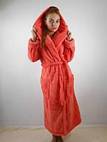 Женский махровый халат длинный с капюшоном и карманами, коралловый цвет