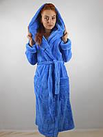 Женский махровый халат длинный с капюшоном и карманами, голубой цвет