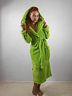 Женский махровый халат длинный с капюшоном и карманами, оливковый цвет