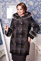 Женское зимнее пальто большого размера с капюшоном и отделкой из натурального меха песца  Юнита  р. 54-64
