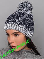 Зимняя шапка вязанная с помпоном 3 цвета