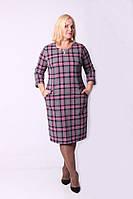 Модное женское трикотажное платье в клетку большого размера 550