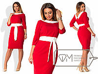 """Нарядное платье с поясом """"Annabella"""" Красный, 48"""