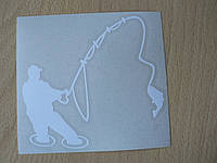 Наклейка vc Рыбак 115х107мм белая  в воде с удочкой рыбалка рыба на крючке виниловая контурная авто