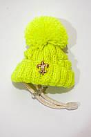Зимняя шапка с бубоном VipDoggy размер M салатовый