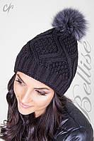 Вязанная зимняя молодежная шапка