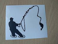 Наклейка vc Рыбак 115х107мм черная в воде с удочкой рыбалка рыба на крючке виниловая контурная авто