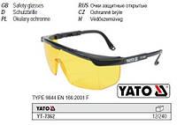 Очки окуляри захисні відкриті жовті оправа YATO-7362