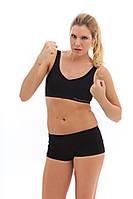 Спортивный комплект топ и шортики микрофибра Greenice черный цвет, размеры 42 - 50. Оптом и в розницу.