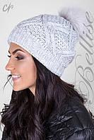 Двойная женская шапка с помпоном из натурального меха.