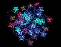 """Электрогирлянда светодиодная """"Звезда"""",30 ламп, многоцв., 3м., прозр.пров, 8 реж.миг."""