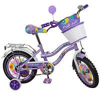Велосипед Profi Violet 14 дюймов, Профи Виолет велосипед для девочки двухколесный с корзинкой