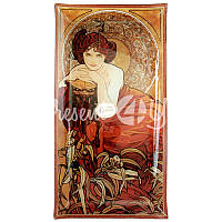 Тарелка декоративная художника Альфонс Мария Муха 'Изумруд' 46х24 см.