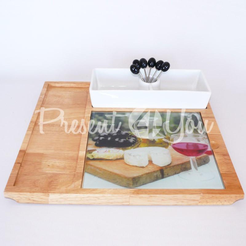 Набор для сыра: поднос, шпажки (6 шт.), 32х33,5 см, 9х22 см.