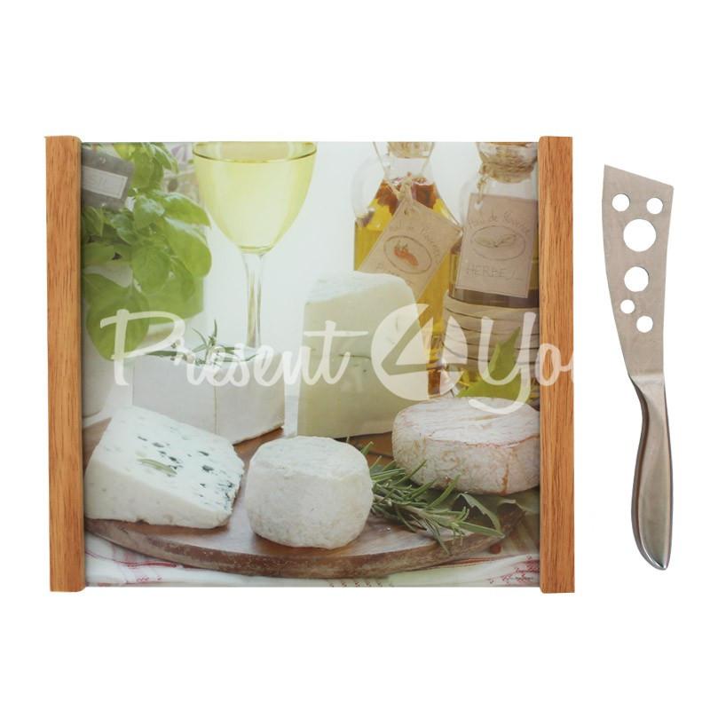Набор для сыра: поднос, нож, 28х32 см.
