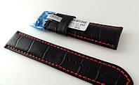 Ремешок Hightone, кожаный, с красной строчкой, анти-аллергенный, черный