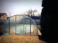 Навес металлический прозрачный (поликарбонат) над бассейном