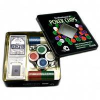 Покерный набор на 100 фишек с номиналом в металлической коробке N°100T