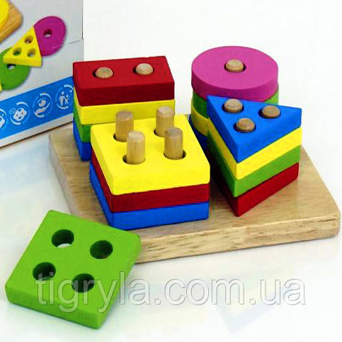 Геометрика - логика сортер, деревянная пирамидка