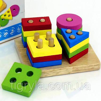 Геометрика - логика сортер, деревянная пирамидка, фото 2