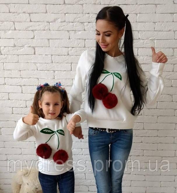 Family Look парные свитшоты Вишенка мама+дочка с натуральным мехом