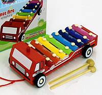 Деревянная игрушка ксилофон, металлофон каталка - Пожарная машина