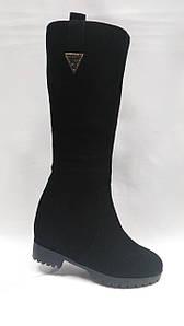 Черные замшевые зимние сапоги на скрытой танкетке. Erisses. Маленькие размеры.