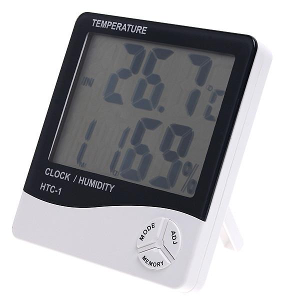 Гигрометр HTC-1 с функ. термометр  / влагомер  / часы  / будильник / календарь