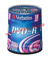Диск VERBATIM DVD-R 4,7Gb 16x Cake 100 pcs (43549)