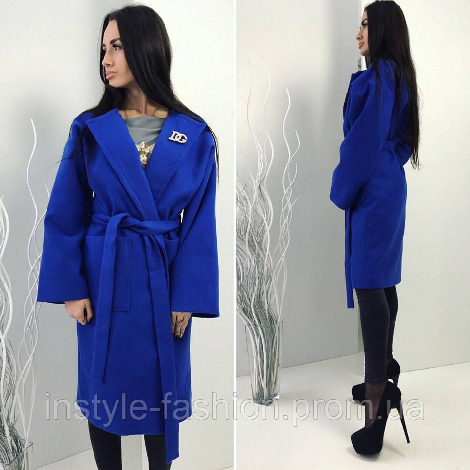 Кашемировое демисезонное пальто на подкладке синее