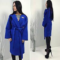 Кашемировое демисезонное пальто на подкладке синее, фото 1