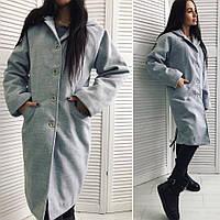 Женское кашемировое пальто на синтепоне цвет серый