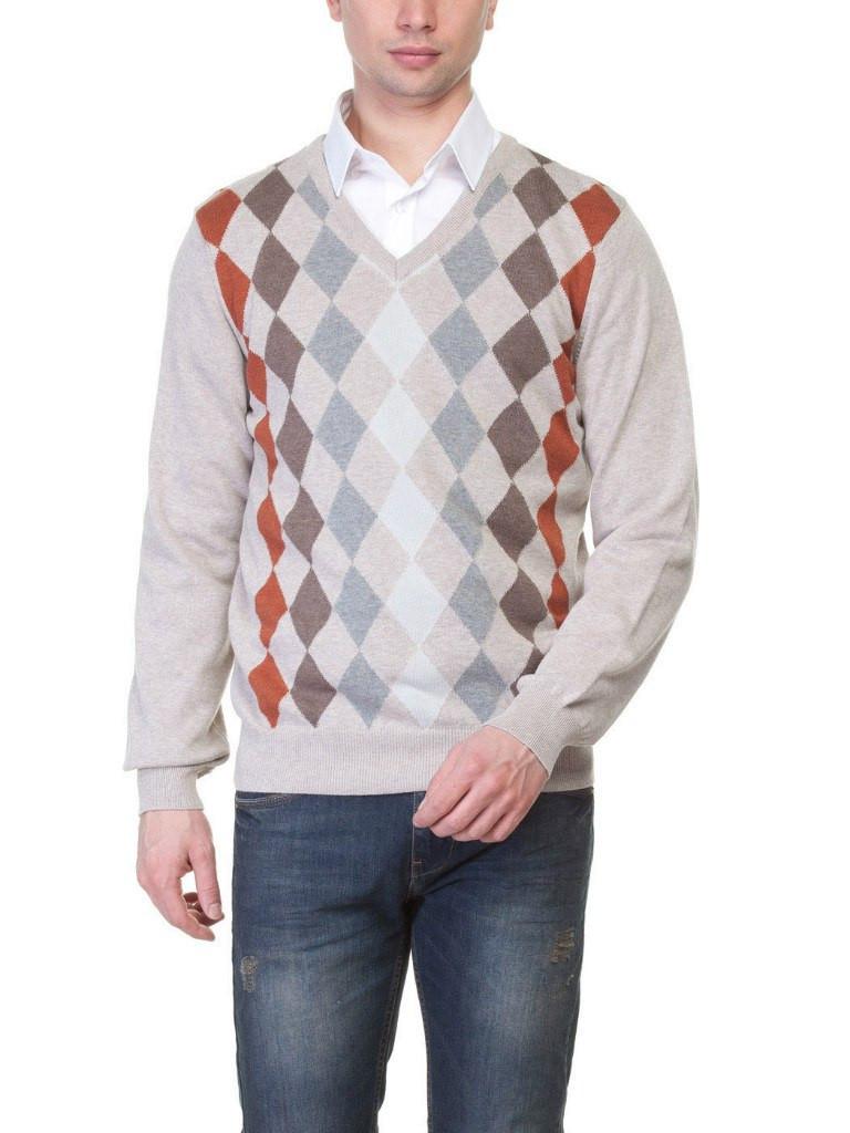 Мужской свитер бежевый LC Waikiki с ромбами