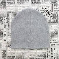 Демисезонная двойная шапка детская 4-12 лет Светло-серый