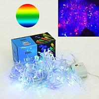 Новогодняя гирлянда светодиодная разноцветные лампочки, 15 метров Лед декор витрин