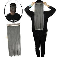 Чудо-прядь накладная на клипсах из искусственных волос оттенок Серый