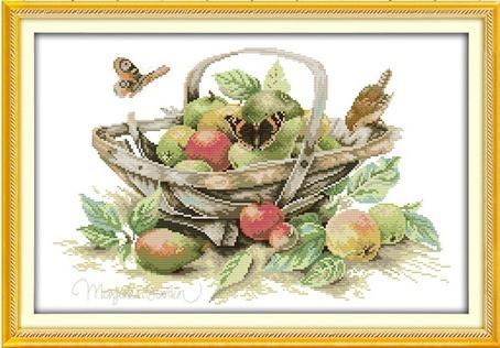 Корзина с фруктами J285/4 Набор для вышивки крестом с печатью на ткани 14ст