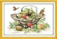 Корзина с фруктами Набор для вышивки крестом с печатью на ткани 14ст