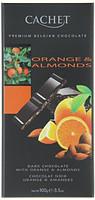 Шоколад Cachet (Кашет) черный 57% какао с апельсином и миндалем Бельгия 100г