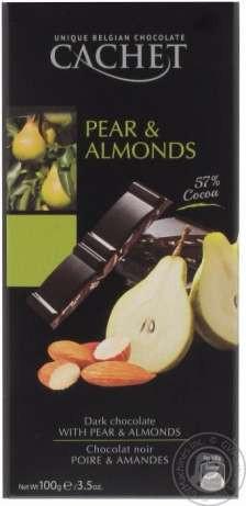 Шоколад Cachet (Кашет) черный 57% какао с грушей и миндалем Бельгия 100г