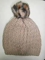 Зимняя детская шапочка с помпоном