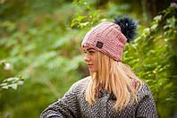 Женская шапка с помпоном (черный) л-176