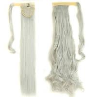 Хвост накладной из искусственных волос с дополнительной прядью на липучке платиновый серый