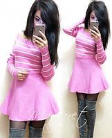 """Красивое, молодежное, женское мини-платье """"Мелкая вязка акрил, открытые плечи в полоску""""  фабричный Китай"""