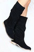 Сапоги замшевые зимние черные без каблука без замка