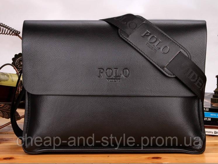 Мужская стильная кожаная сумка POLO под формат А4 (черная). Сумка ... bb4bd4b81b4