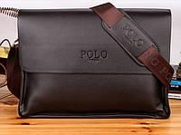 Мужская стильная кожаная сумка POLO под формат А4 (коричневая). Сумка-планшетка - сумка через плечо.