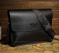 Мужская стильная кожаная сумка POLO (горизонтальный формат). Сумка-планшетка - сумка через плечо.