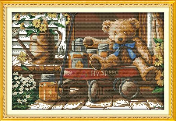 Мишка с медом K944 Набор для вышивки крестом с печатью на ткани 14ст